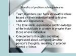 benefits of problem solving in teams