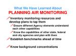 what we have learned about planning air monitoring