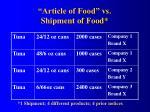 article of food vs shipment of food