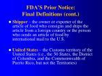 fda s prior notice final definitions cont