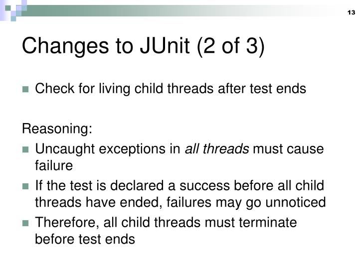 Changes to JUnit (2 of 3)