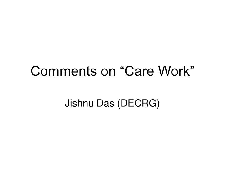 comments on care work n.