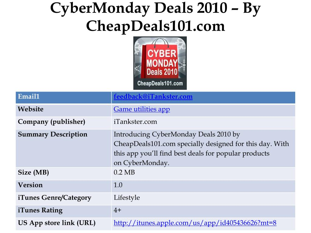 CyberMonday Deals 2010 – By CheapDeals101.com