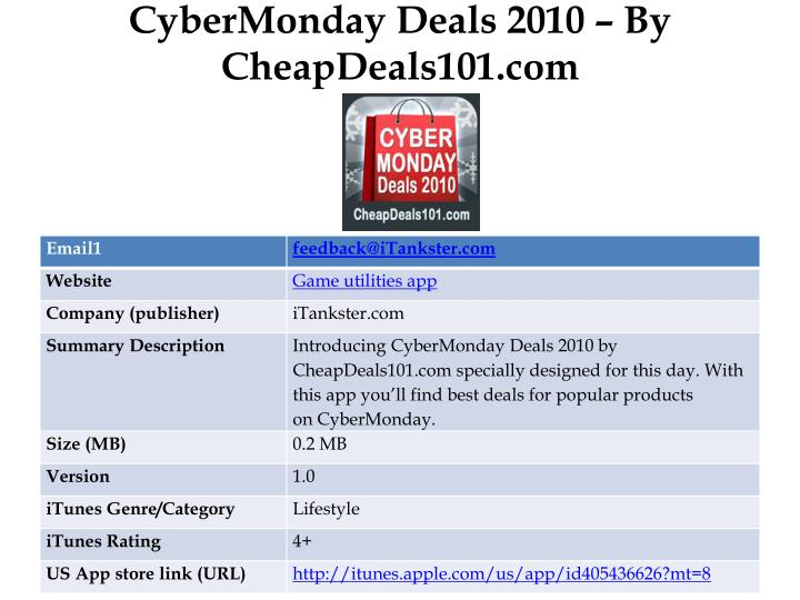 Cybermonday deals 2010 by cheapdeals101 com