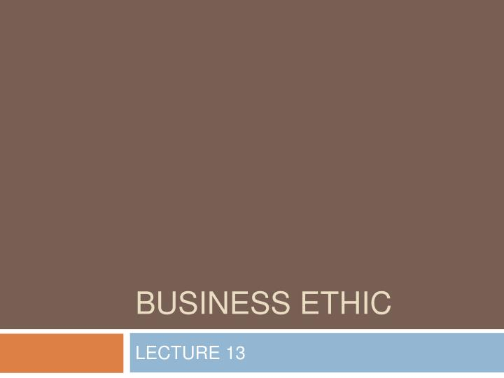 business ethic n.