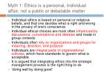 myth 1 ethics is a personal individual affair not a public or debatable matter