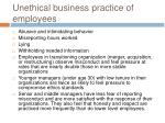 unethical business practice of employees