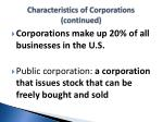 characteristics of corporations continued1