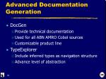 advanced documentation generation