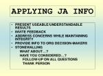 applying ja info