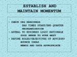 establish and maintain momentum