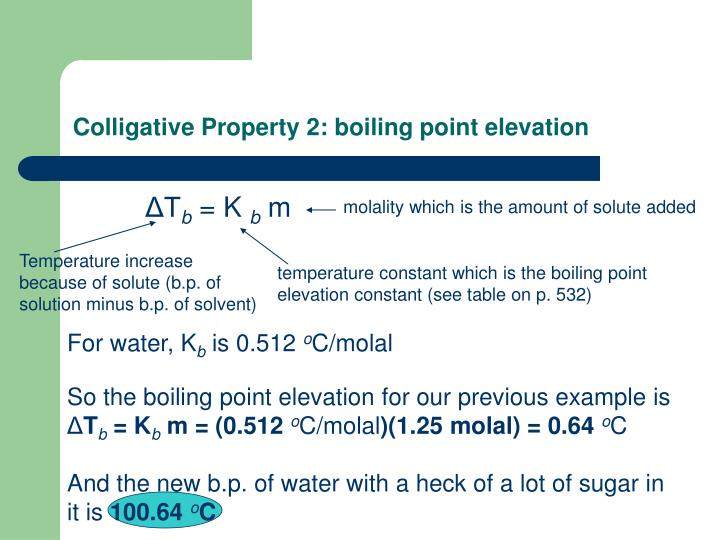 Colligative Property 2: boiling point elevation