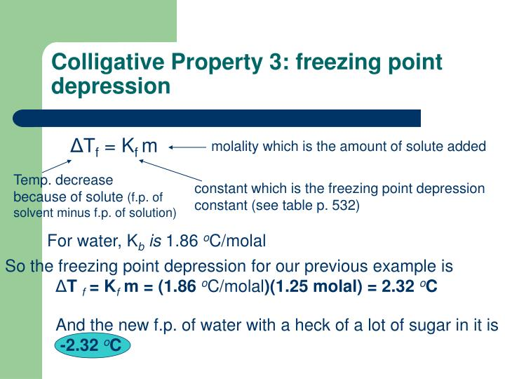Colligative Property 3: freezing point depression