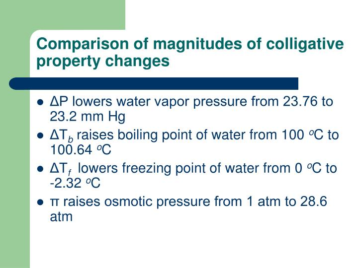 Comparison of magnitudes of colligative property changes