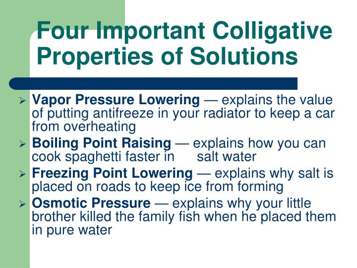 Four important colligative properties of solutions