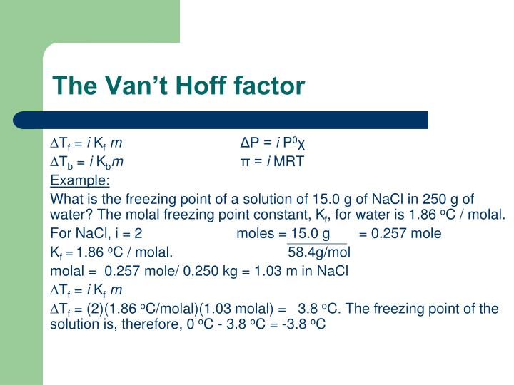 The Van't Hoff factor