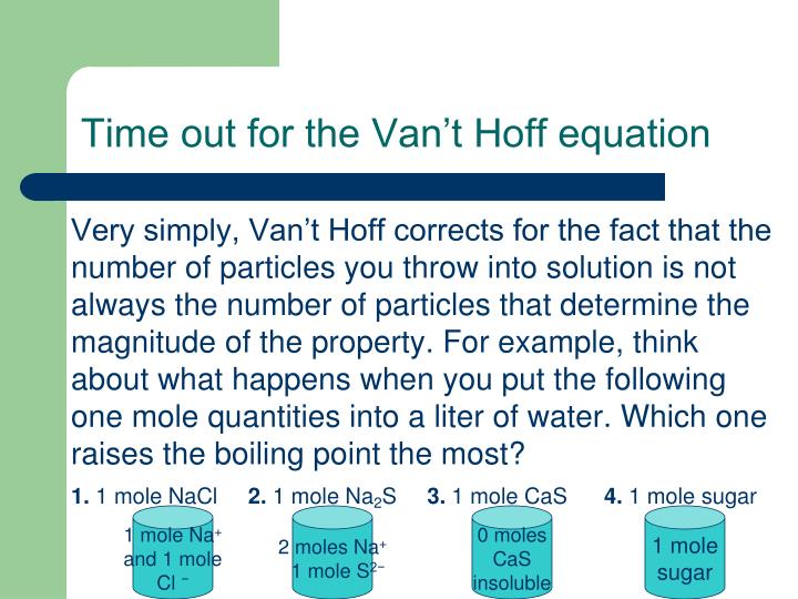 Time out for the Van't Hoff equation