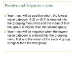 positive and negative t tests