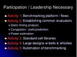 participation leadership necessary