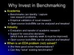 why invest in benchmarking