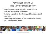 key issues in itu d the development sector