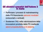 gli obiettivi operativi dell azione 3 in italia