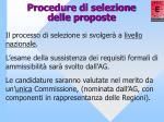 procedure di selezione delle proposte