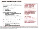 barriers to student health services