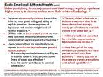 socio emotional mental health cont