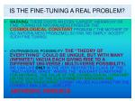 is the fine tuning a real problem