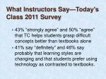 what instructors say today s class 2011 survey