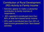 contribution of rural development rd activity to family income