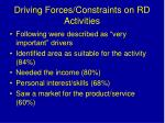 driving forces constraints on rd activities