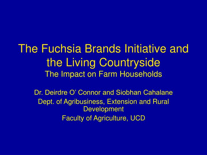 the fuchsia brands initiative and the living countryside the impact on farm households n.