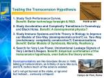 testing the transcension hypothesis