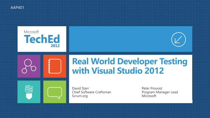 real world developer testing with visual studio 2012 n.