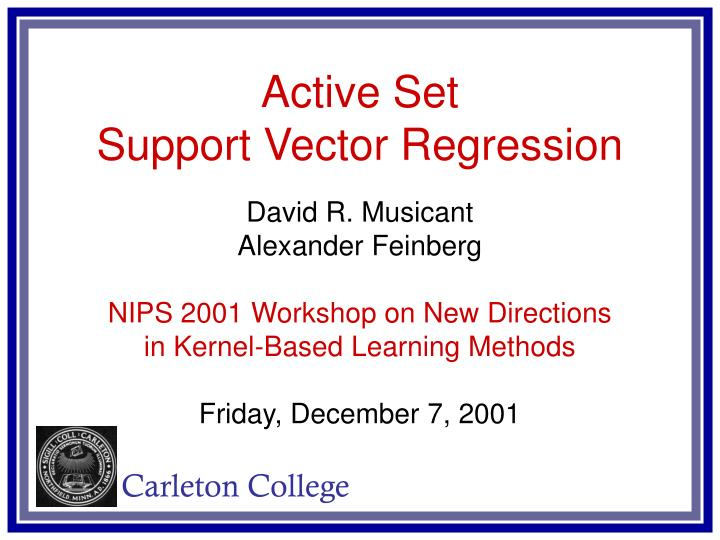 PPT - Active Set Support Vector Regression PowerPoint