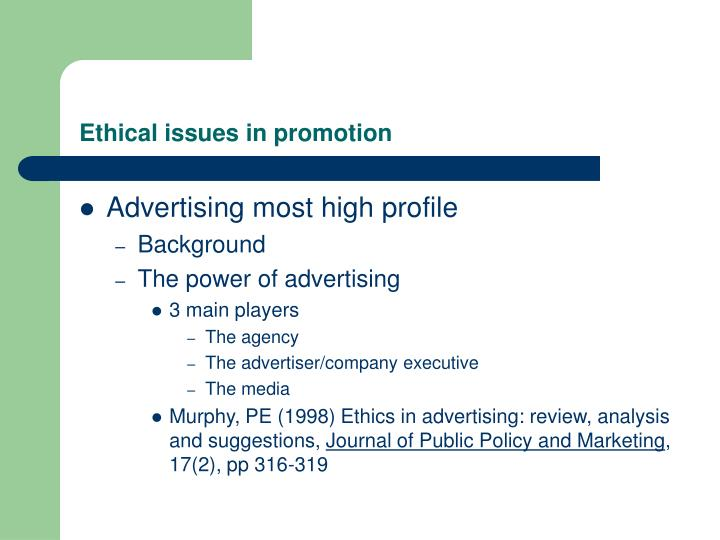 ethical issues in promotion n.