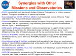 synergies with other missions and observatories