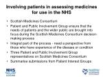 involving patients in assessing medicines for use in the nhs