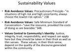 sustainability values