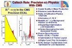 caltech role precision e g physics with cms