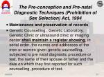 the pre conception and pre natal diagnostic techniques prohibition of sex selection act 199417