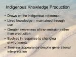 indigenous knowledge production