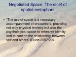 negotiated space the relief of spatial metaphors
