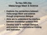te hau mihi ata matauranga maori science