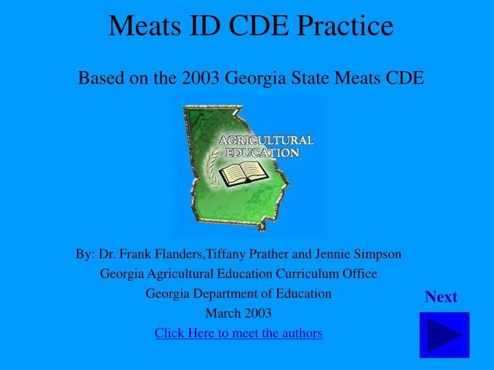 meats id cde practice based on the 2003 georgia state meats cde n.