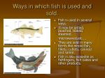 ways in which fish is used and sold