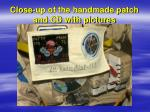 close up of the handmade patch and cd with pictures