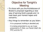 objective for tonight s meeting